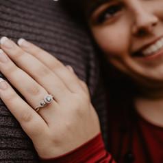 Beautiful photo of Sara's new engagement ring.