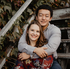 Engagement photos on ivy covered staircase in Iowa City, Iowa