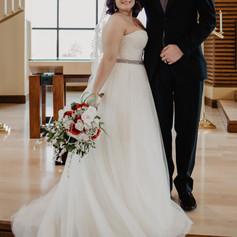 Indoor bride and groom portrait.