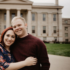 Engagement photos taken on University of Iowa Campus. Old Capital Building in downtown Iowa City