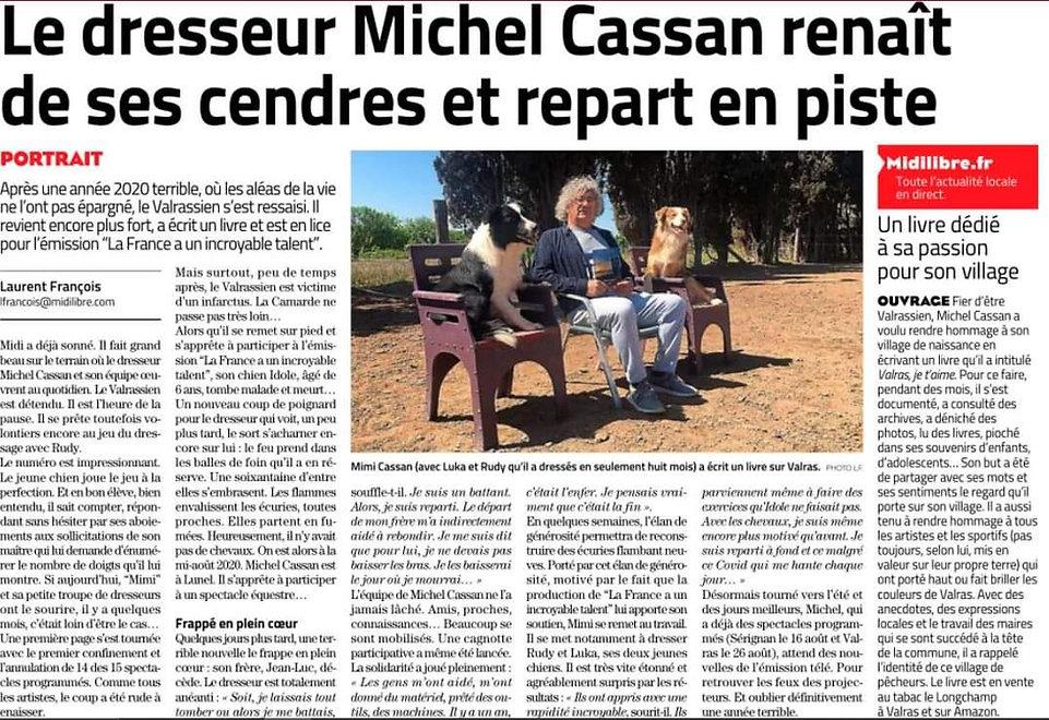 Article Midi-Libre du 16 avril 2021 Mich