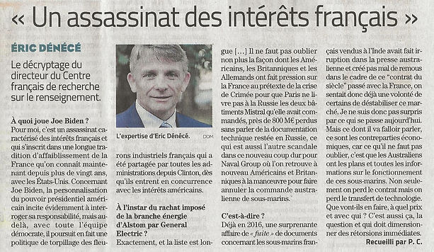 Article Midi-Libre du vendredi 17 septembre 2021 Sous-Marins le contrat du siècle touche-c