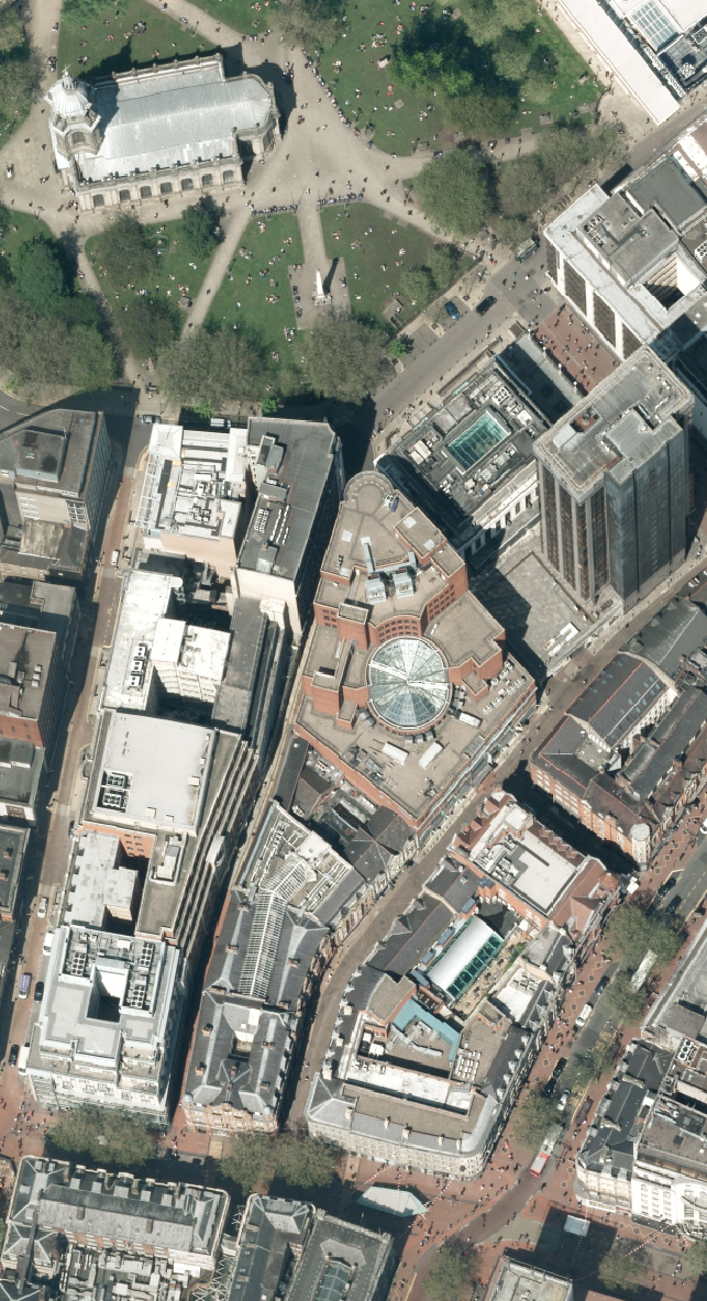 Aerial photo with building lean