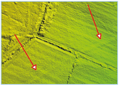 Underground pipelines visible in LiDAR imagery