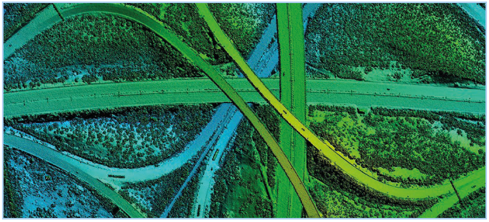 Interstate intersection as seen by LiDAR