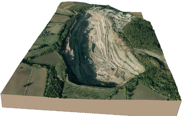 Rendered image of a quarry using LiDAR