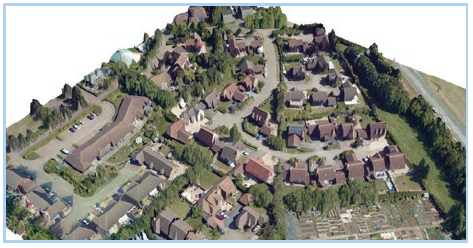 LiDAR £D rendered mesh using aerial photo