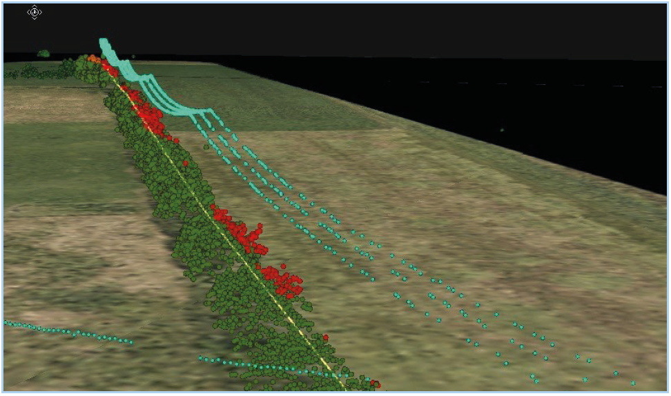 Vegetation near power lines using LiDAR
