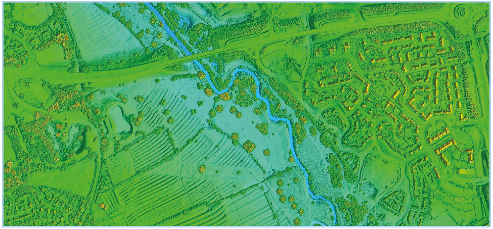 LiDAR data coloured by height