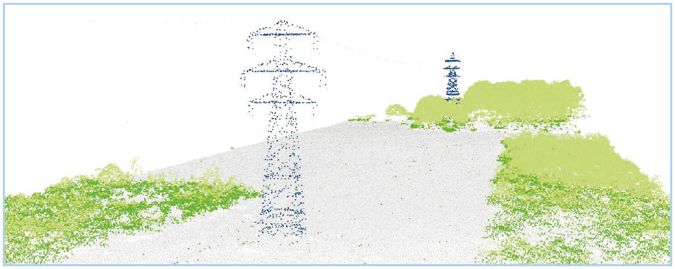 LiDAR point cloud data showing pylons