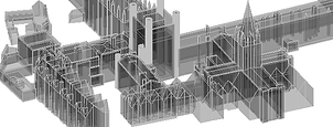 3D wireframe city model