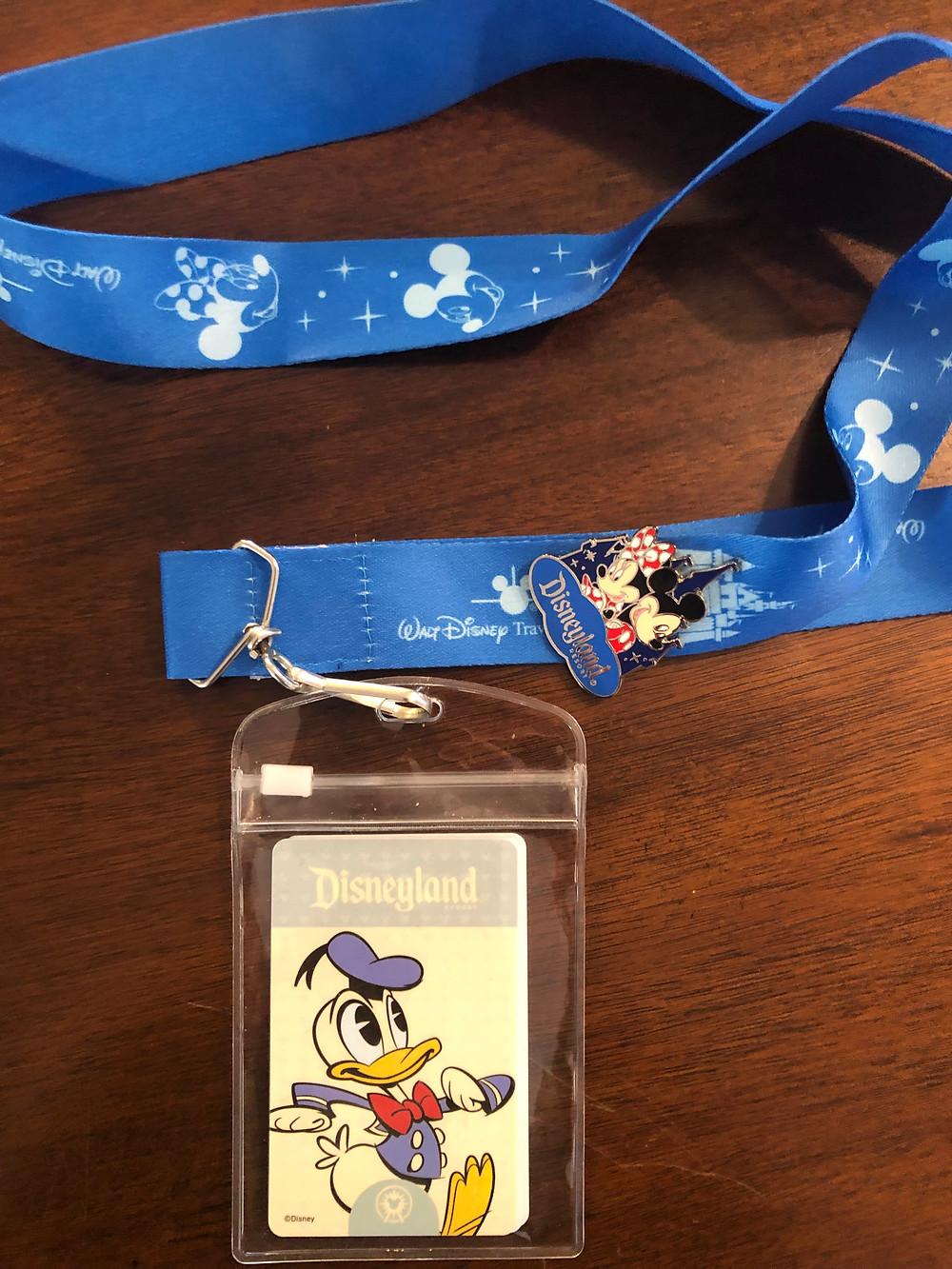Disneyland Park Ticket, Lanyard, and Souvenir Pin