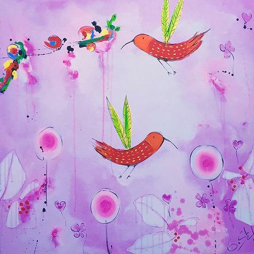 Paradies Vögel pink