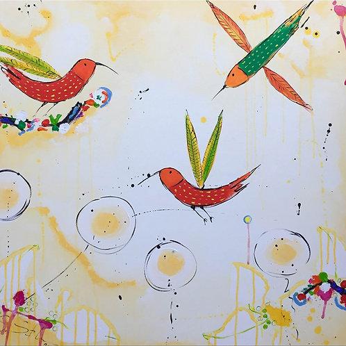 Paradies Vögel gelb
