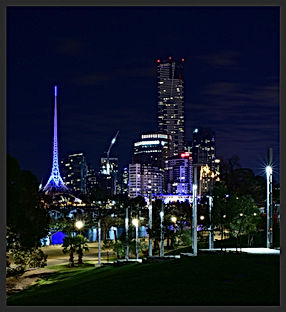 Melbourne Arts Spire by night