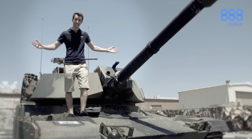 Standing on a tank...like you do.