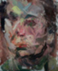 Expressive portrait painting in oil