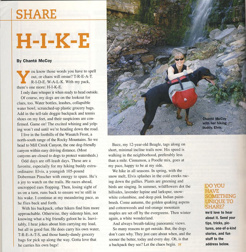 """H-I-K-E"" article in Dog Fancy, by Chante McCoy"