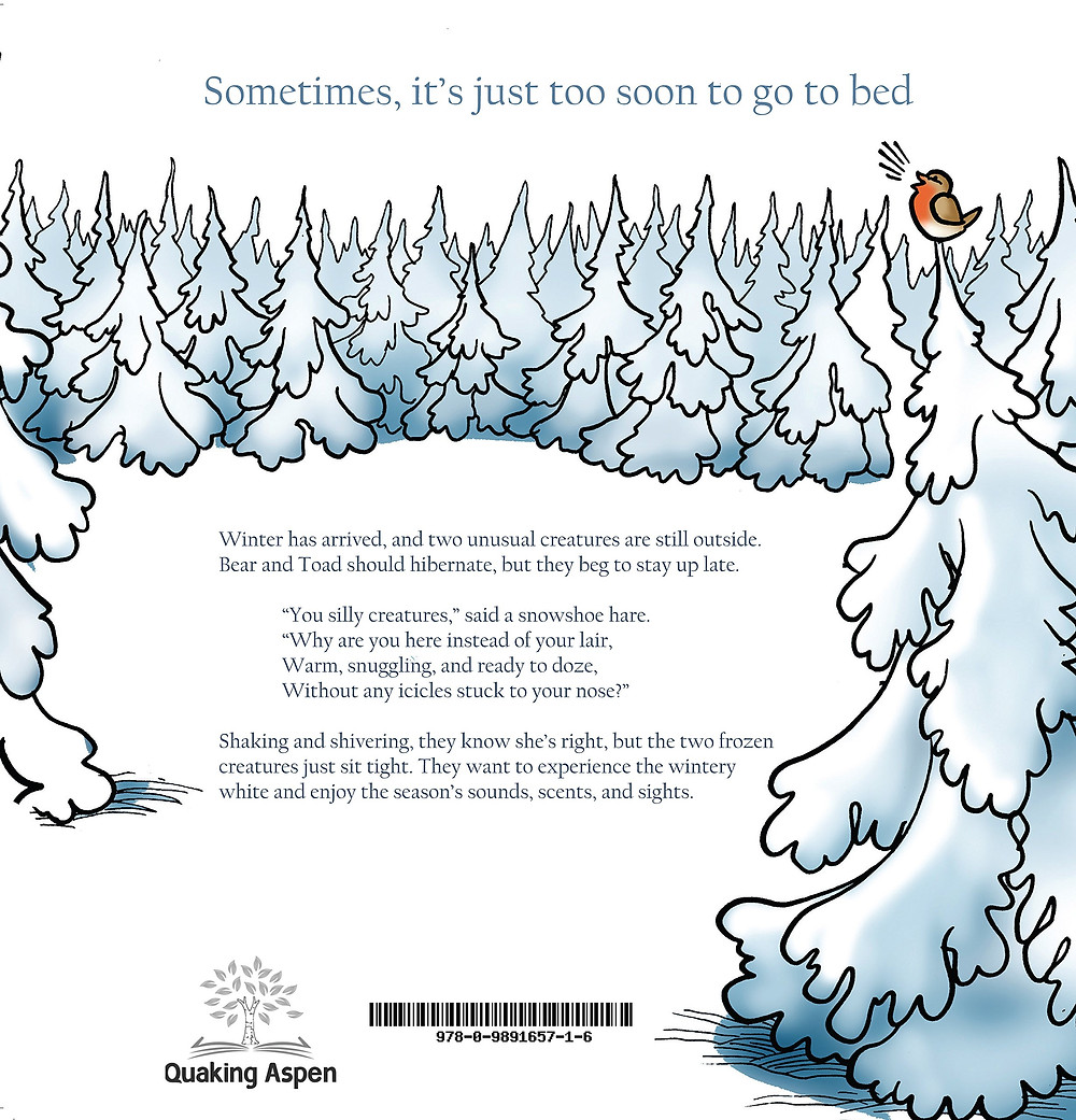 back cover of Blue Bear and Snow Toad