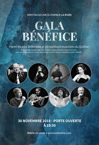 Spectacle GALA BÉNÉFICE, le 30  NOVEMBRE 2018 présenté à l'Espace La Risée!