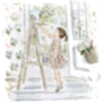 Little girl painting at easel