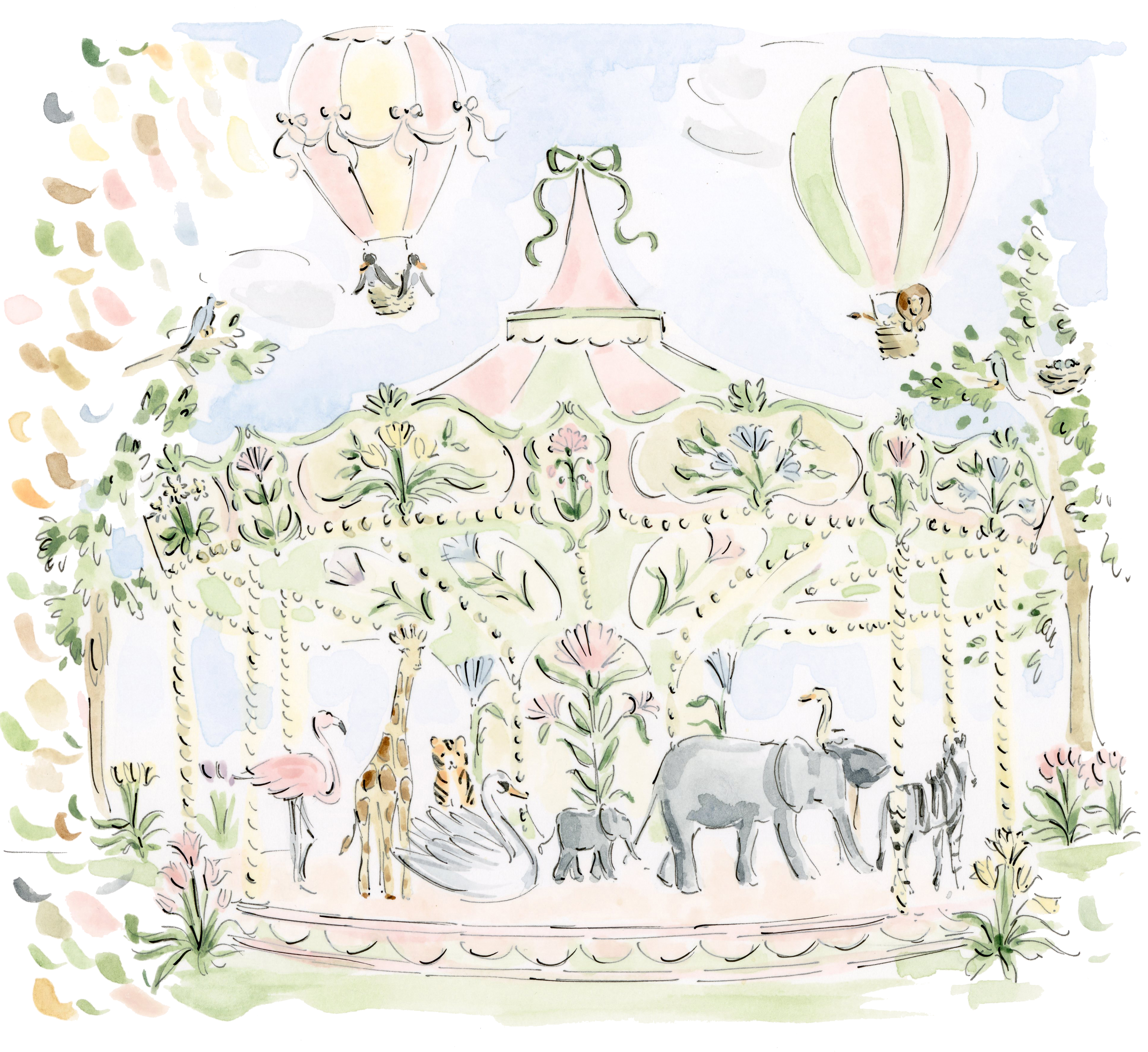 Carousel with zoo animals