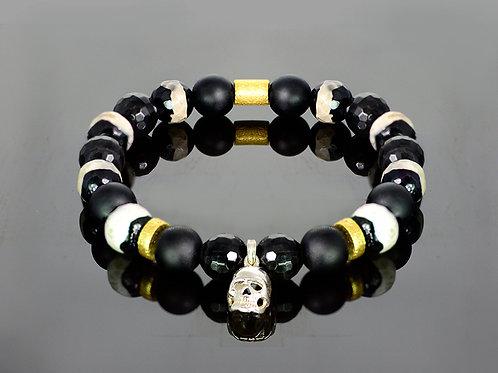 Black white skull onyx bracelet