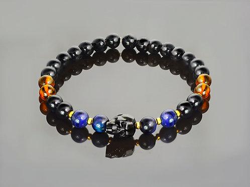Black amber skull onyx bracelet