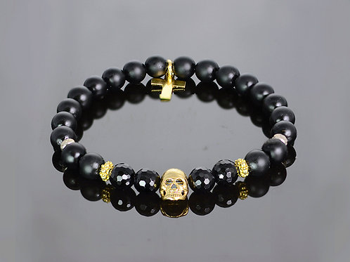 Cross and skull - onyx bracelet