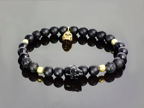 Onyx - Silver and Gold skulls bracelet