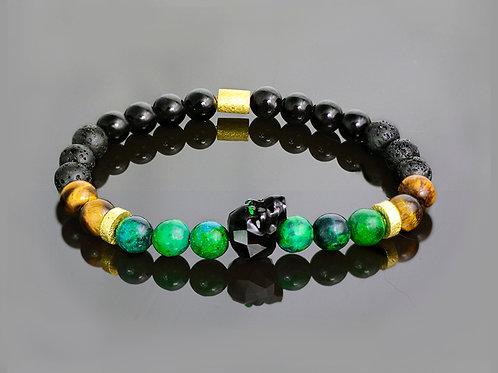 Malachite skull onyx bracelet