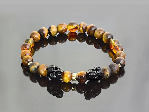 Gold amber tiger eye bracelet