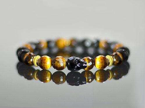 Obsydian Tiger skull bracelet