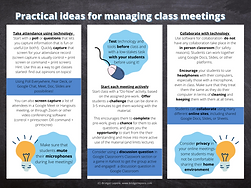 Practical ideas for managing class meetings infographic