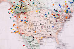 Map pins USA and Canada