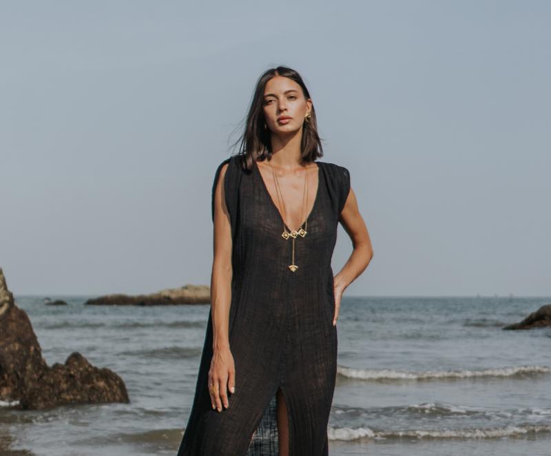 black beach kaftan dress.