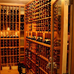 Custom wine cellar with lighted display