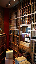 Custom triangle shaped room wine cellar