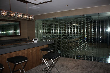 Contemporary wine room with metal wine racks