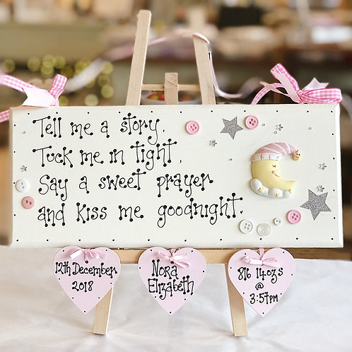 Baby Girl Large Plaque incl. Name, Date, Weight & Time