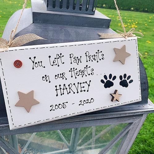 'Paw Prints..' Memorial Pet Plaque