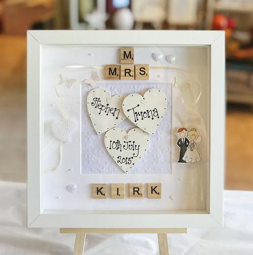 Scrabble Wedding Frame incl. Bride, Groom & Date