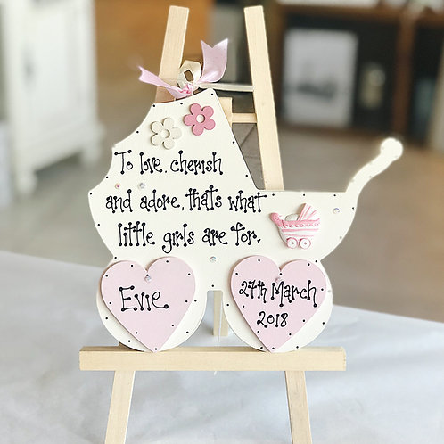 Baby Girl Pram Plaque incl. Name & Date