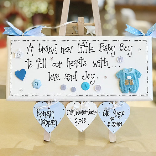 Baby Boy Large Plaque incl. Name, Date, Weight & Time