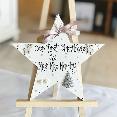 Newlywed's Christmas Star Plaque