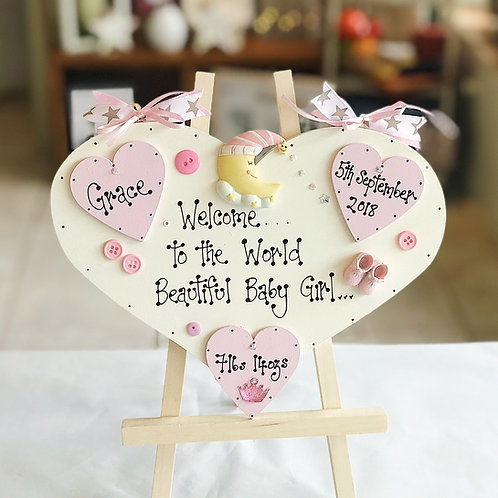 Baby Girl Plaque incl. Name, Date, Weight