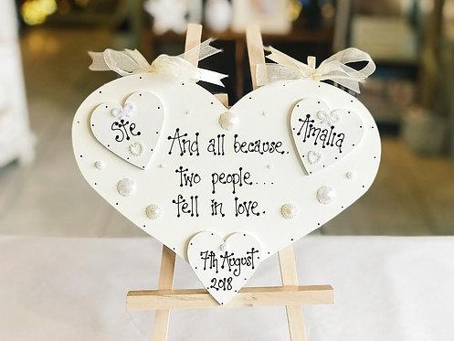 Wedding Plaque incl. Bride, Groom & Date