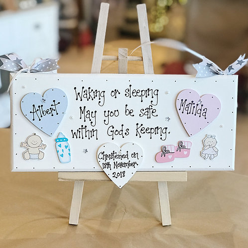 Twin Baby Christening Plaque