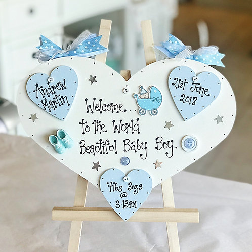 Baby Boy Plaque incl. Name, Date, Weight