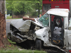 Police Investigate Crash on Wisteria Drive That Left One Man Trapped
